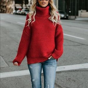 🔴Red loft sweater size small with button detail